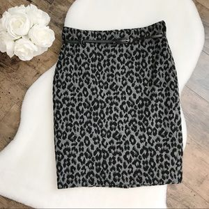 Charter Club Leopard Print Belted Pencil Skirt